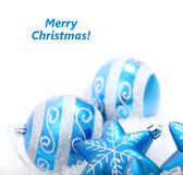 Blue christmas decoration baubles Royalty Free Stock Photos