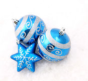 Blue christmas decoration baubles on white Royalty Free Stock Images
