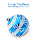 Blue christmas decoration baubles on white Stock Image
