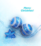 Blue christmas decoration baubles on white Stock Photo