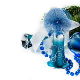 Blue Christmas decoration bells on light background Stock Photos