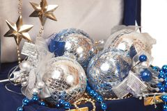 Blue christmas decoration in box Stock Photography