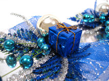 Blue Christmas decoration, box with handbell and balls Stock Photography