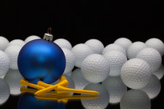 Blue Christmas decoration a golf balls Royalty Free Stock Photos
