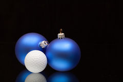 Blue Christmas decoration a golf balls Royalty Free Stock Photo