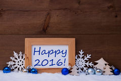 Blue Christmas Decoration, Snow, Happy 2016 Royalty Free Stock Image