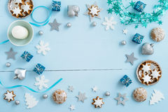 Blue Christmas decoration on wood Royalty Free Stock Photography