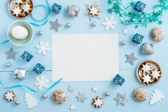 Blue Christmas decoration on wood Royalty Free Stock Image