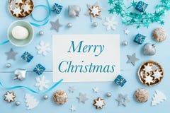 Blue Christmas decoration on wood Royalty Free Stock Photos