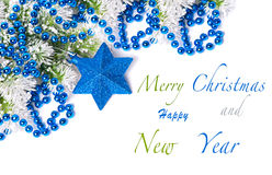Blue Christmas decorations. On snowy pine branch with sample text Stock Photography