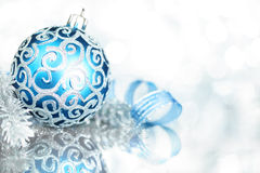 Blue Christmas decorations. With bright lights royalty free stock photography