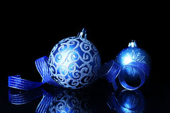 Blue Christmas decorations Royalty Free Stock Photos