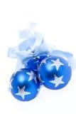 Blue Christmas decorations Stock Photo