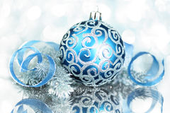 Blue Christmas decorations Royalty Free Stock Image