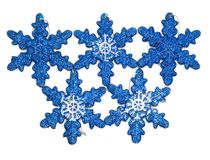 Blue christmas decorations in composition stock images