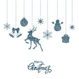 Blue Christmas decorations Stock Images