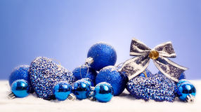 Blue christmas decorations Royalty Free Stock Images