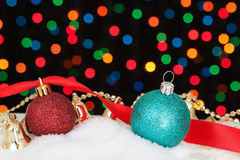 Blue Christmas decorations in the snow. Stock Photography