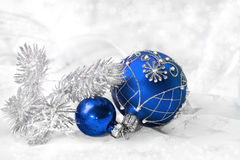 Blue Christmas decorations, text space Stock Image