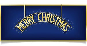 Blue Christmas design inscription on signboard. Festive billboard with gold shine Merry Christmas lettering on blue background. vector banner eps10 Stock Images