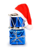 Blue christmas drums, baubles, toys and christmas hat Royalty Free Stock Photography