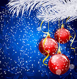 Blue Christmas festive background with red balls Stock Photo