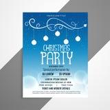 Blue christmas flyer poster design with event details. Vector stock illustration