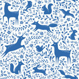 Blue Christmas forest pattern Stock Image