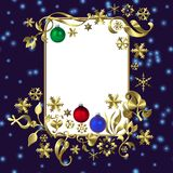 Blue christmas frame. Illustration of a decorative red Christmas frame with space for text in the middle Stock Photography
