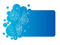 Blue christmas frame with decorations Stock Photos