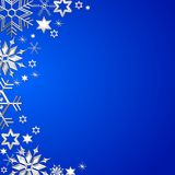 Blue christmas frame with snowflakes Stock Photography