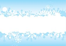 Blue Christmas frame with snowflakes Stock Photo