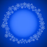 Blue christmas frame with snowflakes circle Stock Image