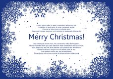 Blue Christmas frame with snowflakes Stock Images