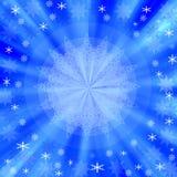 Blue Christmas frame with snowflakes Stock Photos