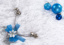 Blue Christmas frame with white fluffy background Royalty Free Stock Photography