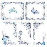 Blue Christmas Frames and Corners. Vector indigo winter swirl vignette ornaments set Stock Photo