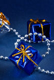 Blue christmas gift Royalty Free Stock Image