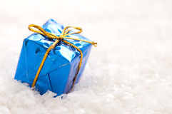 Blue christmas gift Stock Image