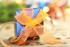 Blue christmas gift box Royalty Free Stock Images