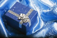 Blue christmas gift box Royalty Free Stock Photo
