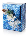 Blue Christmas gift box isolated on the white background Stock Images