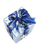 Blue Christmas Gift Box with Ribbon and Ornament Stock Images