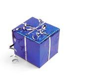 Blue Christmas gift boxes on white background stock photos