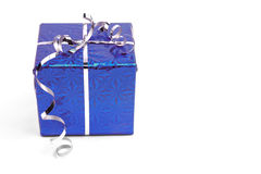Blue Christmas gift boxes on white background Royalty Free Stock Images