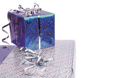 Blue Christmas gift boxes on white background Stock Images