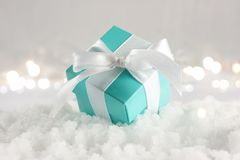 Blue Christmas gift nestled in snow. Blue Christmas gift with white ribbon nestled in snow Royalty Free Stock Photography