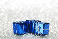 Blue christmas gifts Stock Images