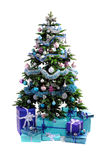 Blue Christmas gifts under tree Royalty Free Stock Photography