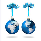Blue Christmas glass balls silver world. Blue Christmas glass balls with silver world continents decoration, on white background Royalty Free Stock Image